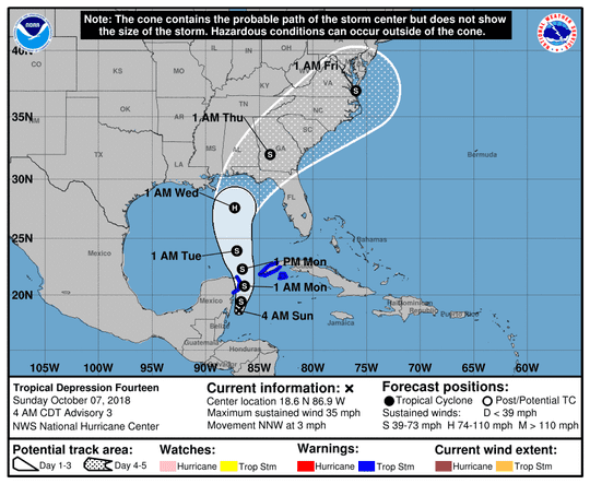 The official forecast track for the tropical depression forecasters say will become Hurricane Michael.
