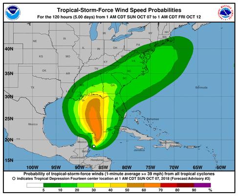 Show Map Of Florida Panhandle.Tropical Storm Michael Heading To North Florida Panhandle