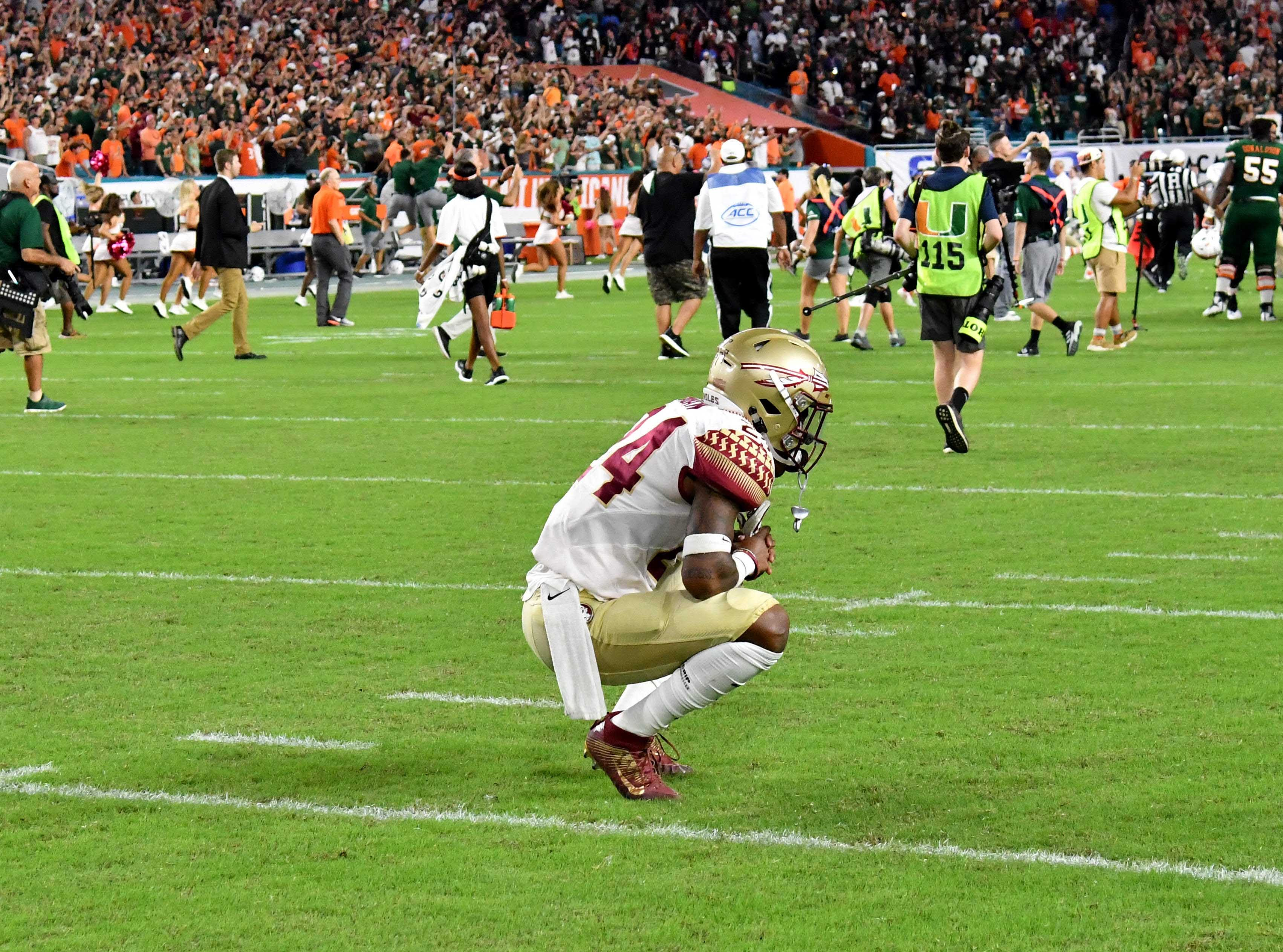 Oct 6, 2018; Miami Gardens, FL, USA; Florida State Seminoles defensive back Cyrus Fagan (24) reacts after the game Miami Hurricanes at Hard Rock Stadium. Mandatory Credit: Steve Mitchell-USA TODAY Sports