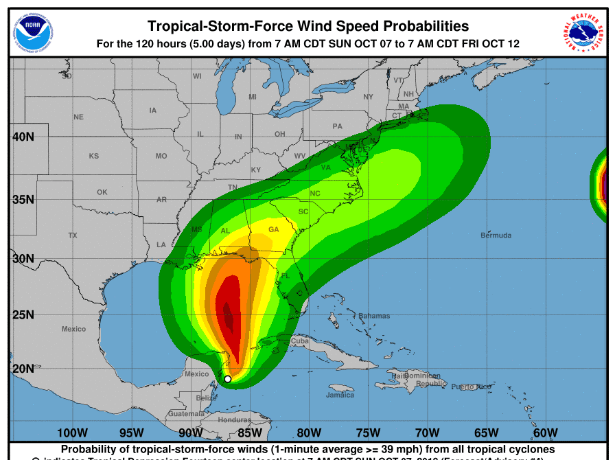 Tropical storm force wind probabilities for the storm expected to become Tropical Storm or Hurricane Michael.