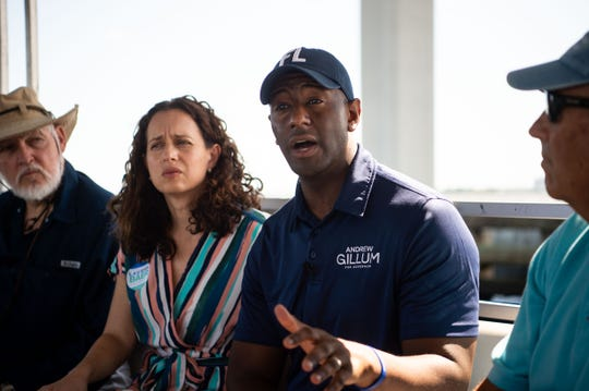 Gubernatorial candidate and Tallahassee Mayor Andrew Gillum visits Martin County for a boat tour from Shepard Park to discuss the blue-green algae crisis, followed by a rally at Memorial Park, on Sunday, Oct. 7, 2018, in Stuart.