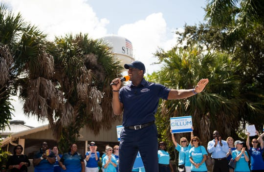 Gubernatorial candidate and Tallahassee Mayor Andrew Gillum speaks at a rally organized by democrats at Memorial Park, on Sunday, Oct. 7, 2018, in downtown Stuart, Florida.