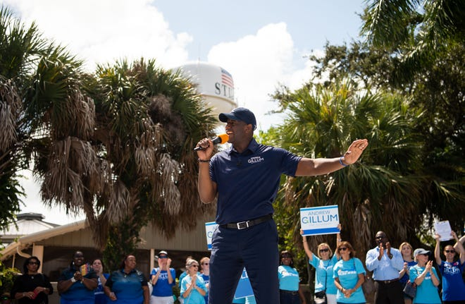 Gubernatorial candidate and Tallahassee Mayor Andrew Gillum speaks at a rally organized by democrats at Memorial Park, on Sunday, Oct. 7, 2018, in downtown Stuart.