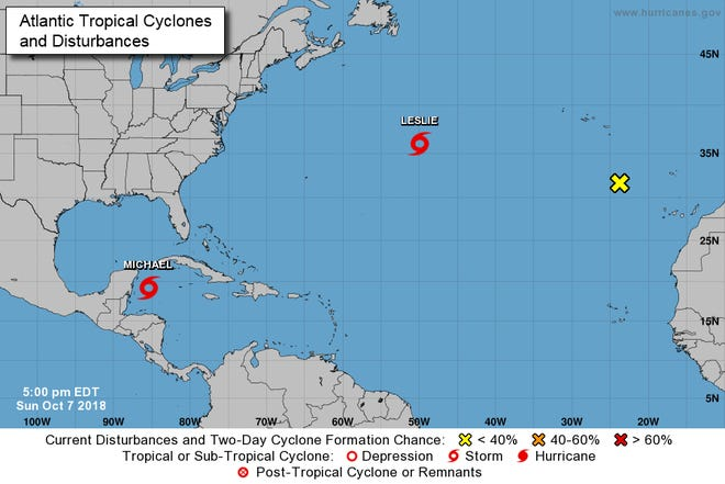 A look at the tropics as of 5 p.m. Sunday.