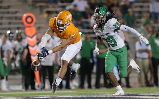 UTEP tight end David Lucero just misses a pass on 4th and 17 with under two minutes to play Saturday against UNT. UTEP lost to the Mean Green 27-24.