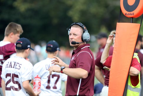 Harrison High School football coach Dominic Zanot during their rivalry game against Rye Oct. 7, 2018 at Rye High School. Rye won, 41-14.