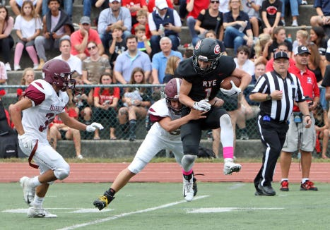 Rye defeated Harrison, 41-14, in their 89th football rivalry game Oct. 7, 2018 at Rye High School.