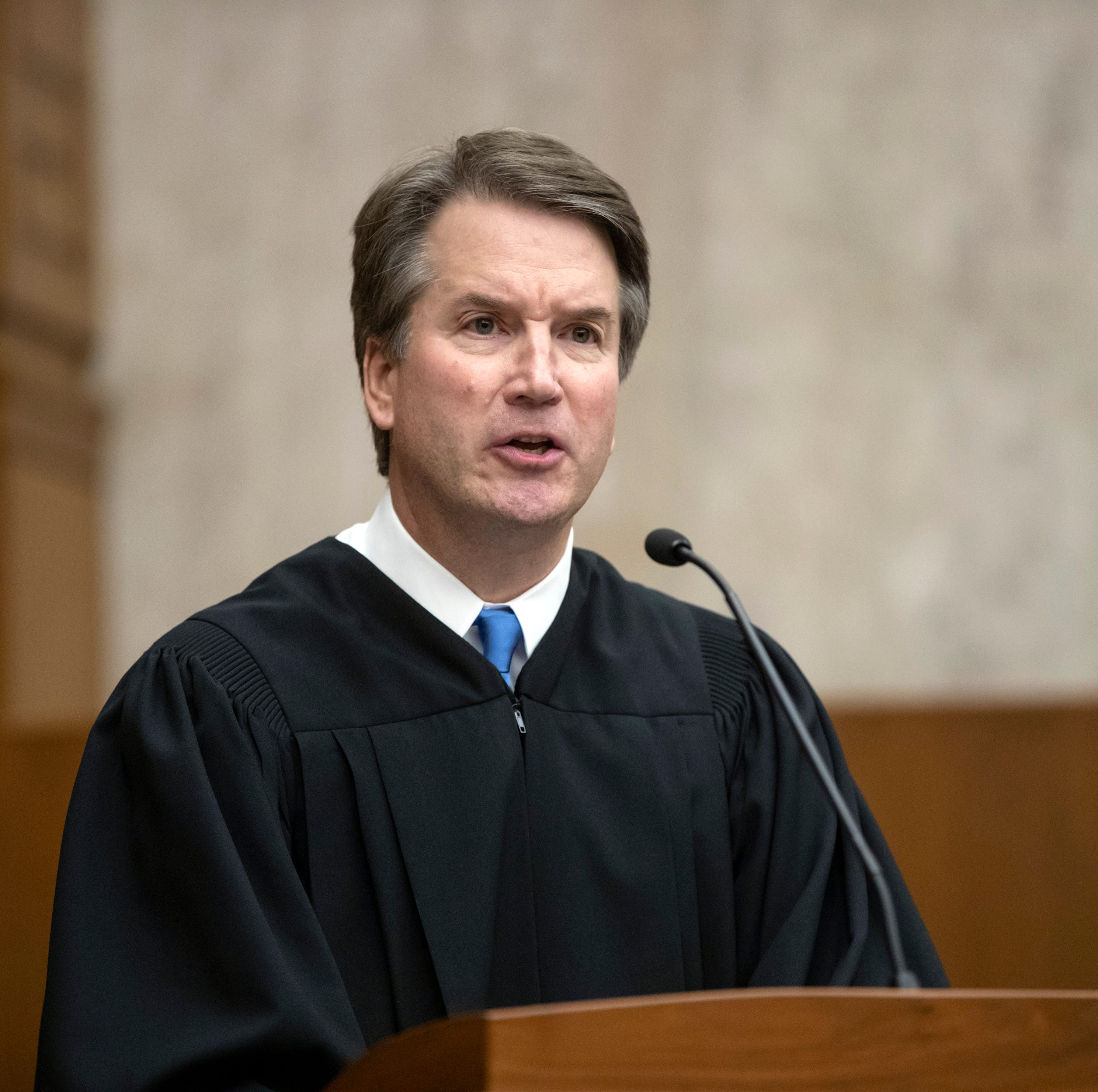 Judge Brett Kavanaugh on Aug. 7, 2018, at the U.S. District Courthouse in Washington.