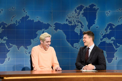 "Pete Davidson (left) takes on Kanye West alongside Colin Jost during ""Weekend Update"" on ""Saturday Night Live."""