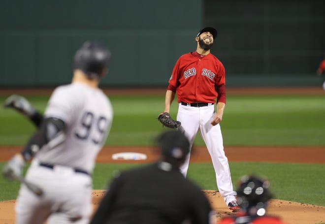 Red Sox starter David Price reacts after Aaron Judge blasts a first-inning home run for the Yankees.