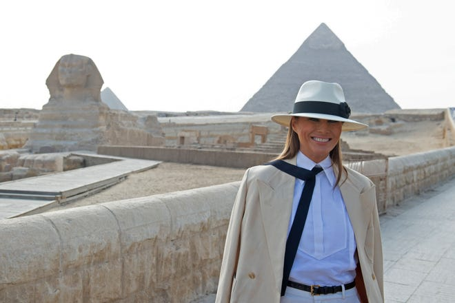 First lady Melania Trump took in Egypt's great Pyramids and the Sphinx at Giza on Oct. 6, 2018, during the final stop of her week-long trip through four countries in Africa.