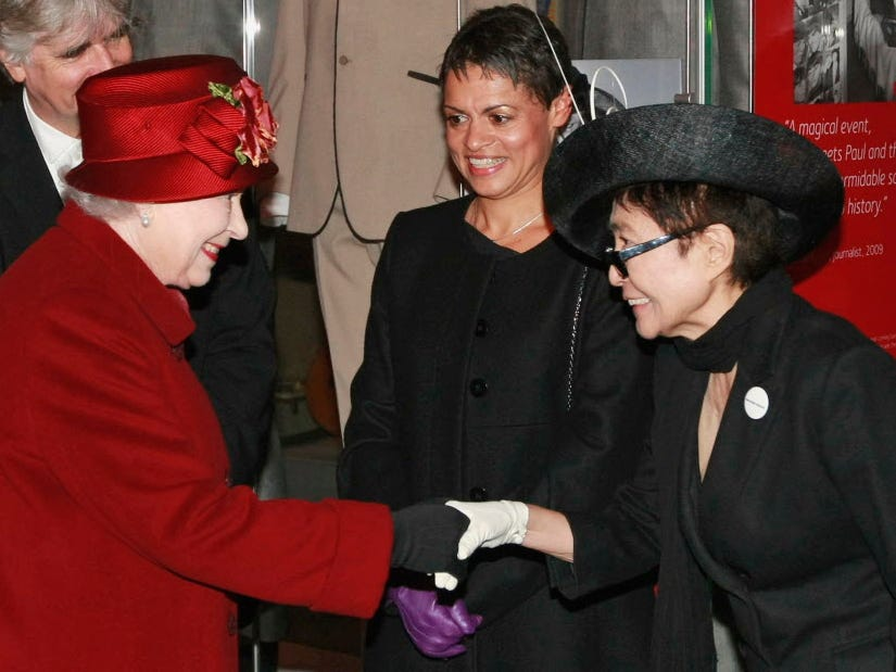 ORG XMIT: LTS101 Britain's Queen Elizabeth II, left, meets Yoko Ono, right, during their visit to the Museum of Liverpool in Liverpool, England, Thursday, Dec. 1, 2011.  With 8,000 meters of public space, the recently opened museum looks at Britain and the world through the eyes of Liverpool, with 6,000 objects showcasing the city's unique contribution to the world.  (AP Photo/Tim Hales-Pool)