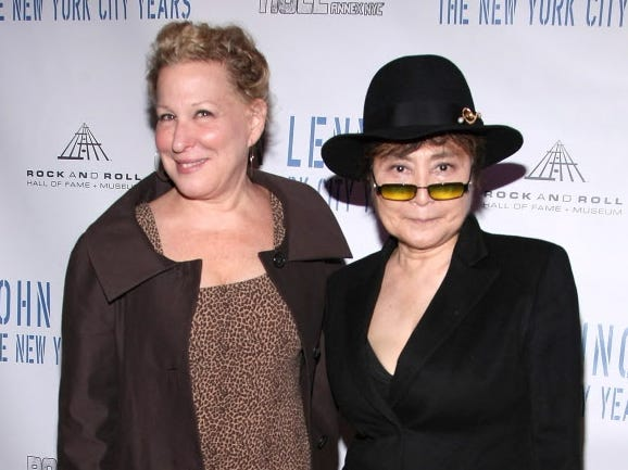 "NEW YORK - MAY 11:  Actress Bette Midler and Yoko Ono attend the ""John Lennon: The New York City Years"" exhibit preview at Rock & Roll Hall of Fame Annex NYC on May 11, 2009 in New York City.  (Photo by Michael Loccisano/Getty Images) ORG XMIT: 86961033 GTY ID: 61033ML001_JOHN_LENNON_T"