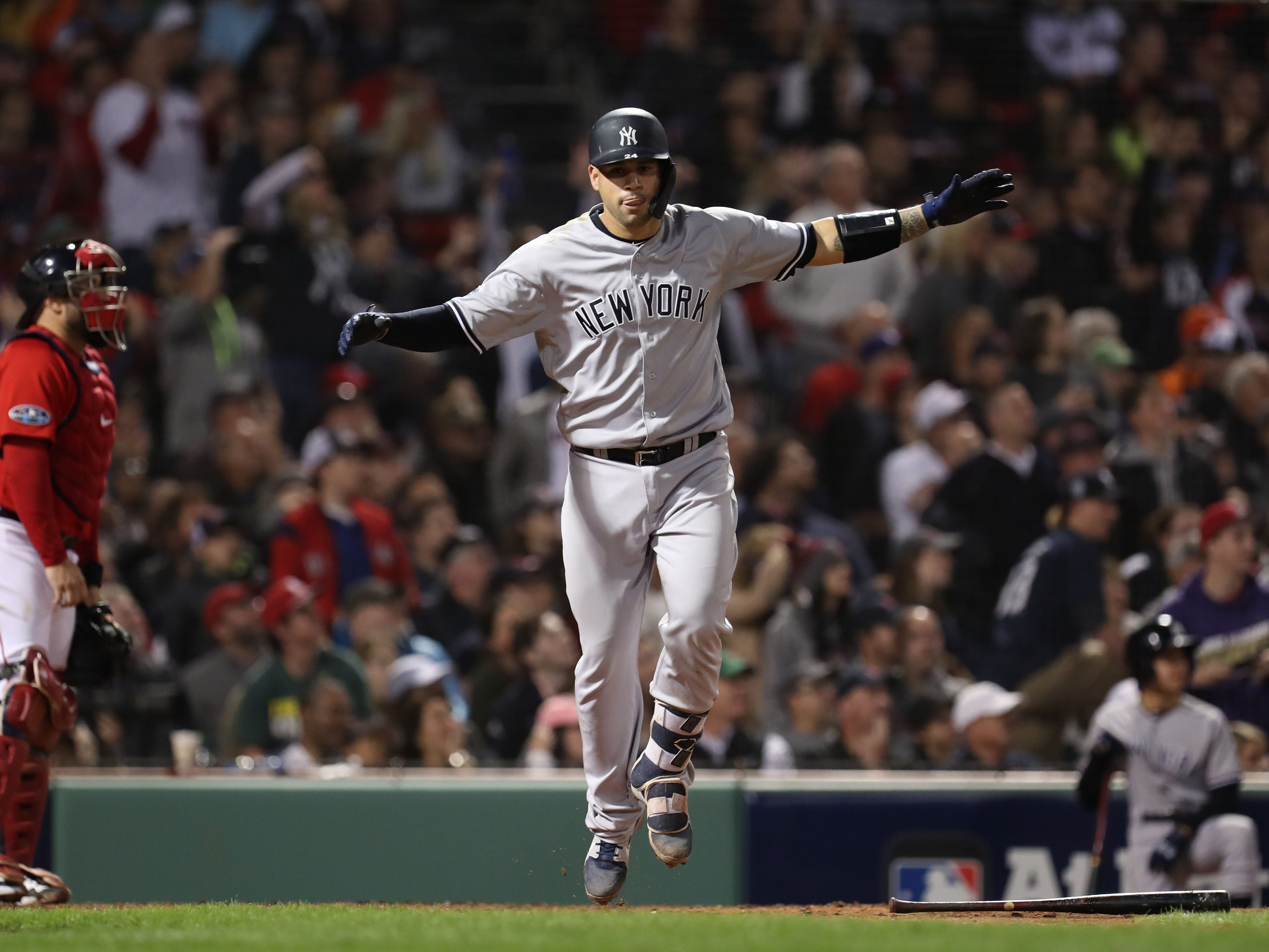 ALDS game 2: Yankees catcher Gary Sanchez slugs a three-run 479 foot home run in the seventh inning.