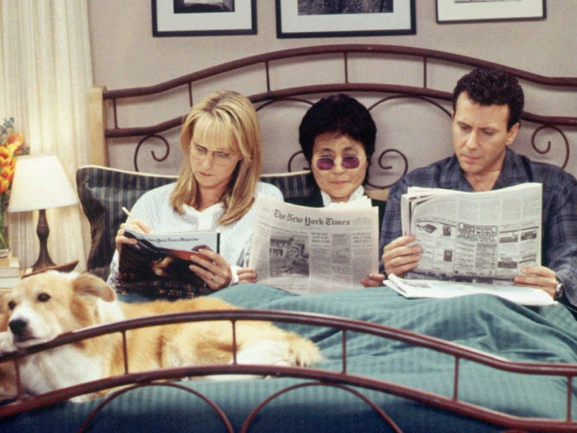 "NBC102 10/24/95 -- ""MAD ABOUT YOU"" - 'Yoko Said' -- TELECAST DATE: Sun., Nov. 12 (8-8:30p.m. ET) --- PICTURED: Helen Hunt, Yoko Ono, Paul Reiser --- YOKO ONO  MAKES ACTING DEBUT ON NBC'S ""MAD ABOUT YOU"" --- Artist Yoko Ono, who collaborated with John Lennon, her late husband, on several of his musical albums, makes her acting debut as herself when she inspires admiring filmmaker Paul Buchman (Reiser) to make a film based on one of her ideas.  Fellow series star Helen Hunt appears as Jamie Buchman . -- NBC PHOTO: Gary Null. ORG XMIT: NBC101"