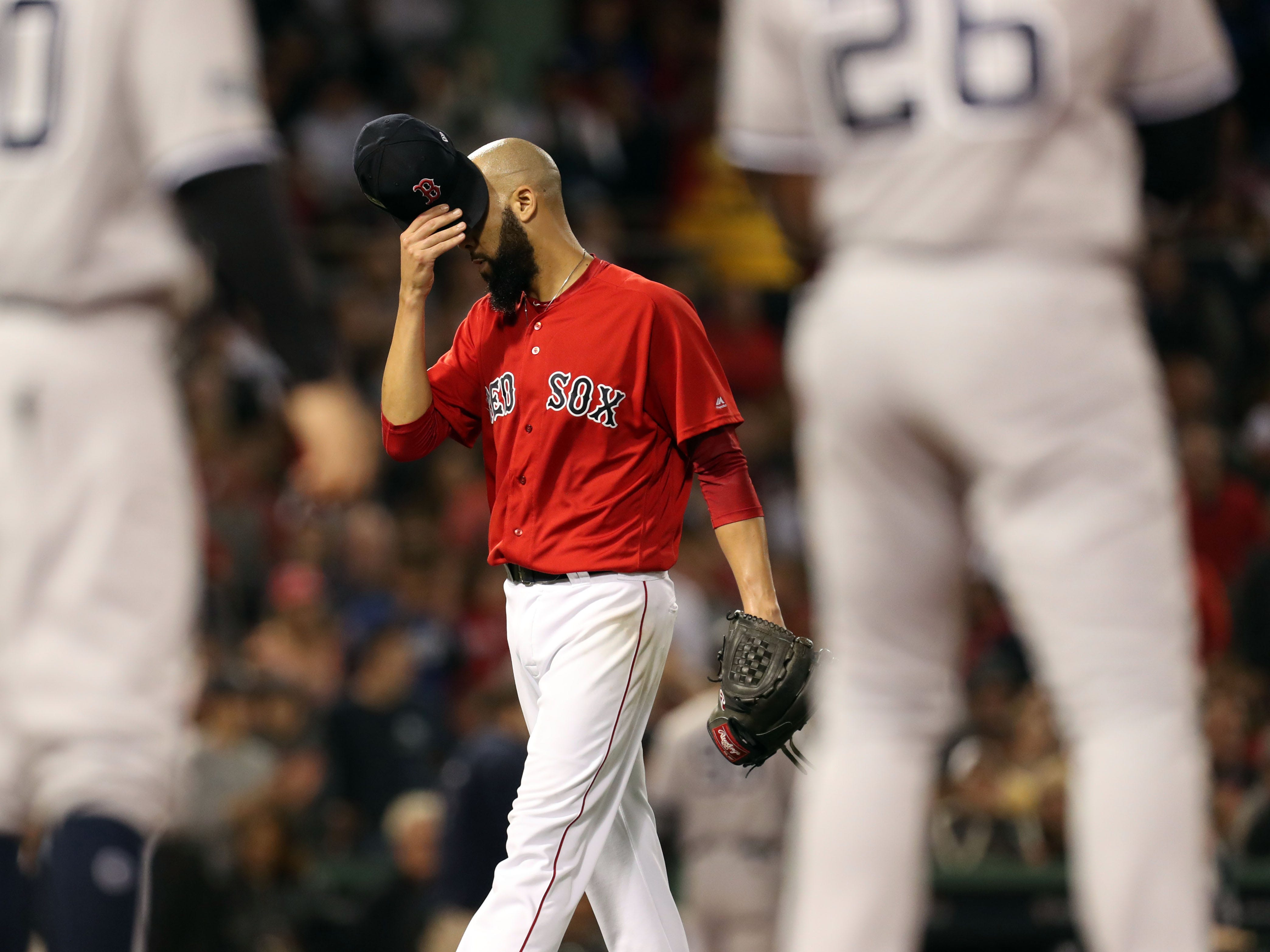 ALDS Game 2: Red Sox starting pitcher David Price is pulled from the game in the second inning.