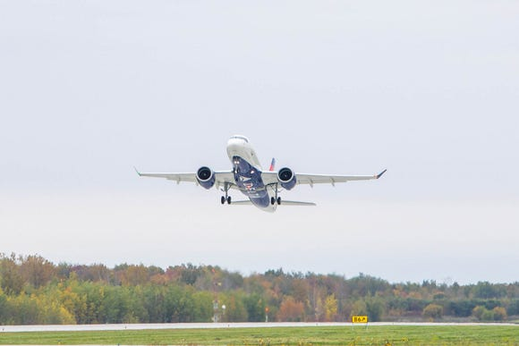 The first Airbus A220 bound for Delta made its maiden flight from Mirabel, Quebec, on Saturday, Oct. 6, 2018.
