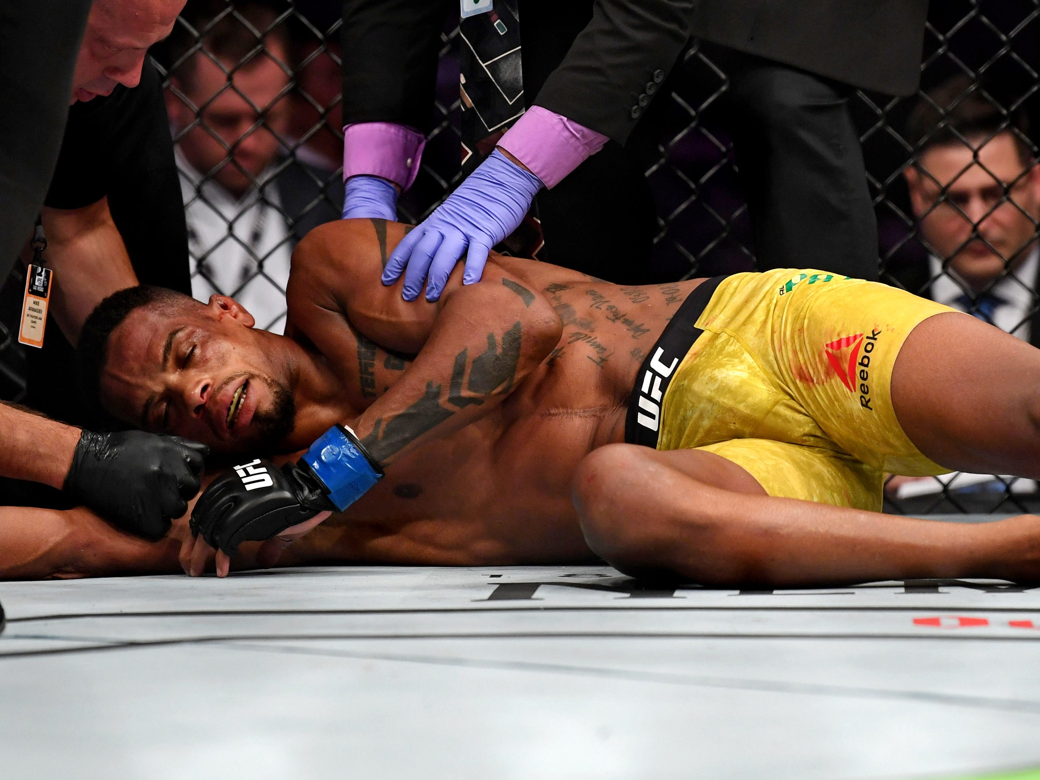 Alan Patrick was left sprawled on the canvas after he was knocked out by Scott Holtzman.