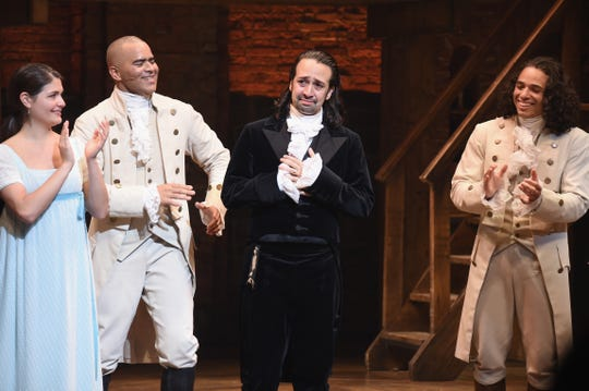 Phillipa Soo (from left), Christopher Jackson, Lin-Manuel Miranda and Anthony Ramos mark Miranda's final performance in 'Hamilton' on July 9, 2016.