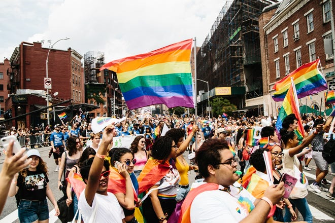 People march in the 49th annual New York City Gay Pride Parade on June 24, 2018.