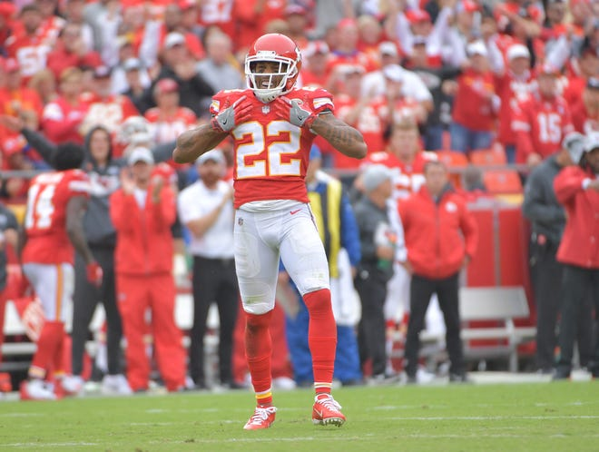 Kansas City Chiefs defensive back Orlando Scandrick (22) celebrates after breaking up a pass against the Jacksonville Jaguars during the second half at Arrowhead Stadium.