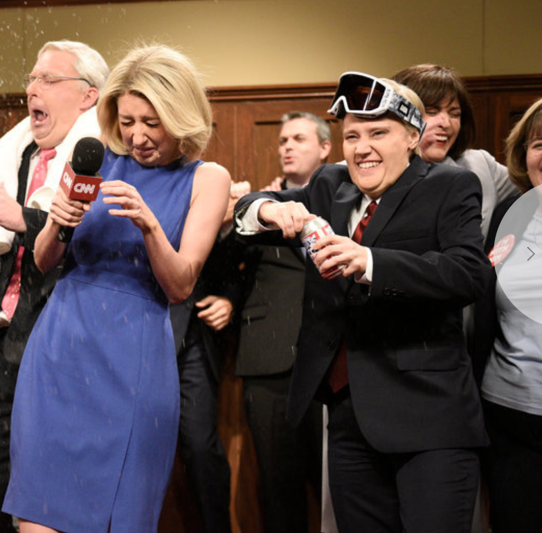 "The GOP locker room celebration on ""Saturday Night Live."""