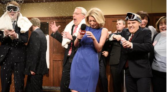 "The GOP locker room celebration on ""Saturday Night Live."""