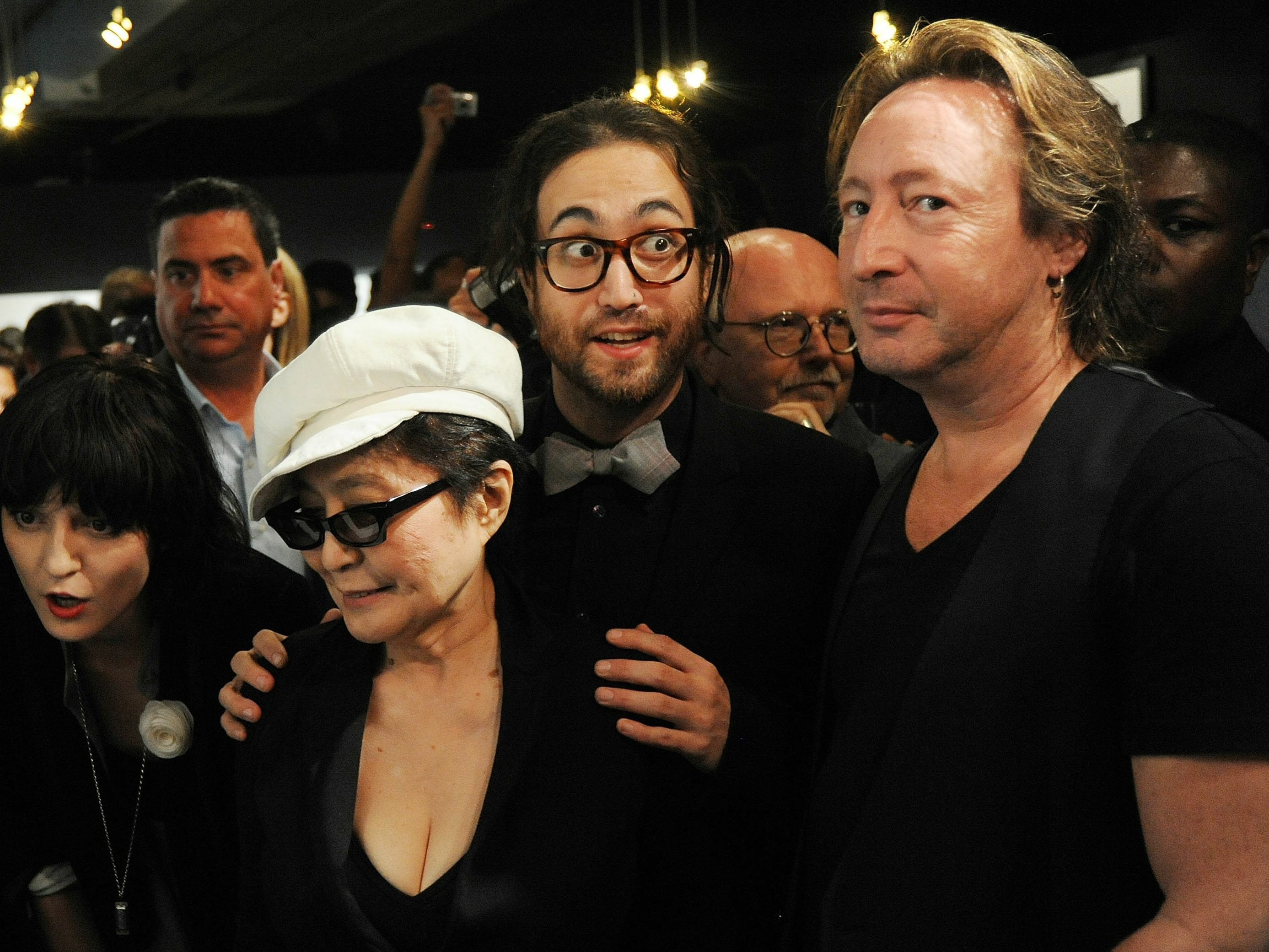 "ORG XMIT: 103889945 NEW YORK - SEPTEMBER 16:  Irina Lazarean, Sean Lennon, Yoko Ono and Julian Lennon attends the ""Timeless"" photography exhibition opening party at the Morrison Hotel Gallery on September 16, 2010 in New York City.  (Photo by Bobby Bank/WireImage) ORIG FILE ID: 103889945BB045_Timeless_By_"