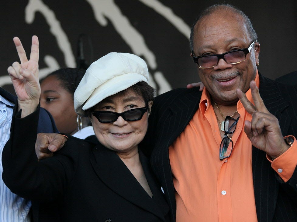 ANAHEIM, CA - JANUARY 14:  Musicians Yoko Ono (L) and Quincy Jones appear on stage in support of the John Lennon Educational Tour Bus at the 2010 NAMM Show - Day 1 at the Anaheim Convention Center on January 14, 2010 in Anaheim, California.  (Photo by David Livingston/Getty Images for NAMM) ORG XMIT: 95659029 GTY ID: 59029DL006_THE_2010_NAMM