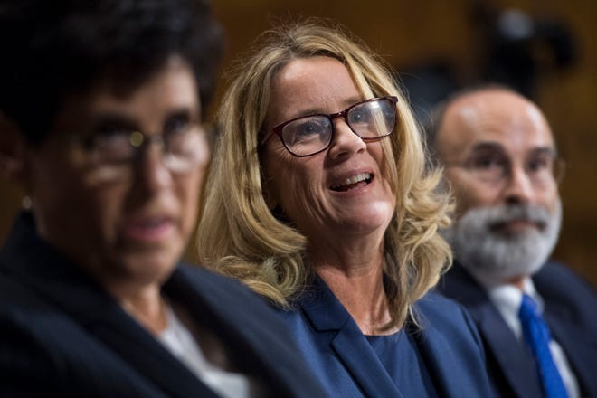 Christine Blasey Ford and her lawyers Debra Katz and Michael Bromwich