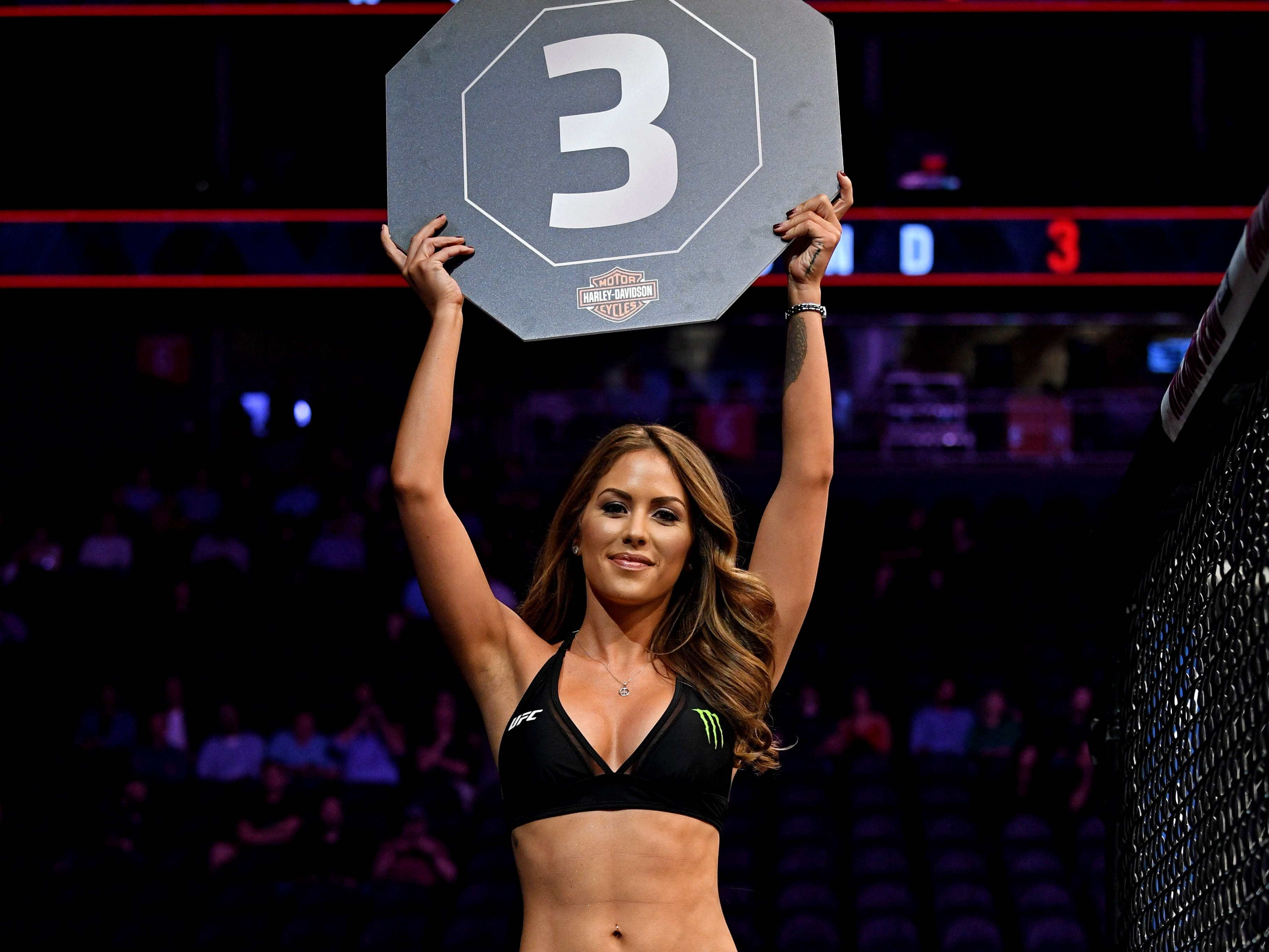 UFC octagon girl Brittany Palmer announces the third round of the Holtzman-Patrick fight.