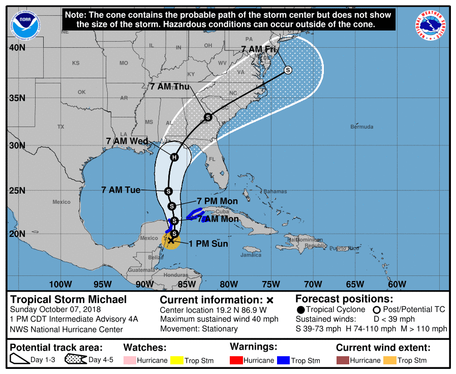 Tropical Storm Michael forecast to become hurricane and hit Gulf Coast