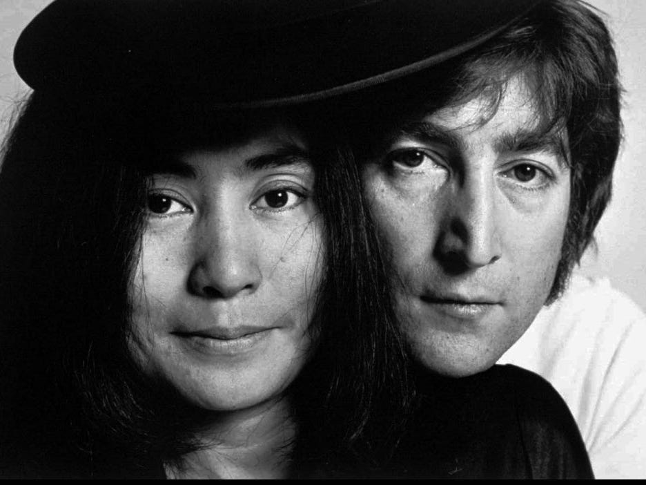 This portrait of John Lennon and Yoko Ono created by celebrity photographer Raeanne Rubenstein in New York City in 1972 is on display at the Country Music Hall of Fame in Nashville, Tenn. The 55 portrait exhibit that opened Thursday, June 1, 1995, includes images of Minnie Pearl, Janis Joplin, Stephen King and Loretta Lynn. (AP Photo/Raeanne Rubenstein) ORG XMIT: NS1