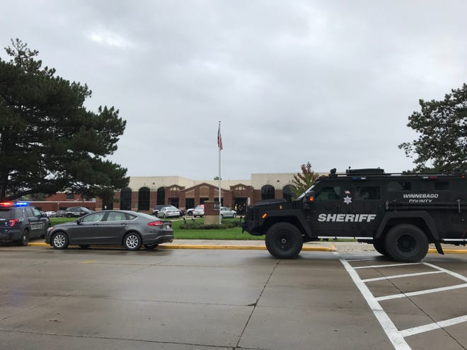 Police from multiple agencies responded to an intruder alarm Monday at Mapleview Intermediate School in Kimberly.