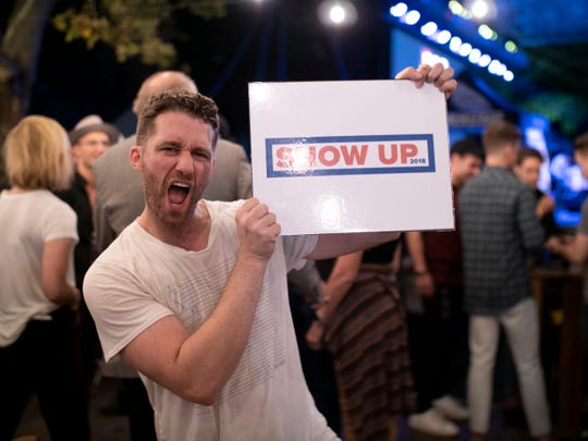 Matthew Morrison lends his support to Show Up 2018, encouraging young people to register to vote at Elsie Fest 2018, in Central Park on Sunday, Oct. 8, 2018.