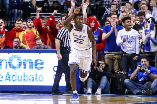 Myles Cale after a basket vs. Xavier.