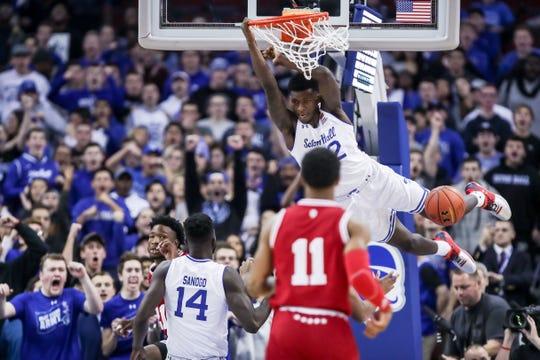 Seton Hall's Myles Cale dunks against Indiana.