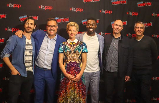 """The cast and creators of """"Nightflyers,"""" from left Eoin Macken, showrunner Jeff Buhler, Gretchen Mol, David Ajala and executive producers Gene Klein and David Bartis."""