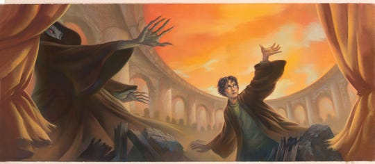 """Jacket art for the 2007 edition of """"Harry Potter and the Deathly Hallows"""" by Mary GrandPré is on display at the New York Historical Society."""