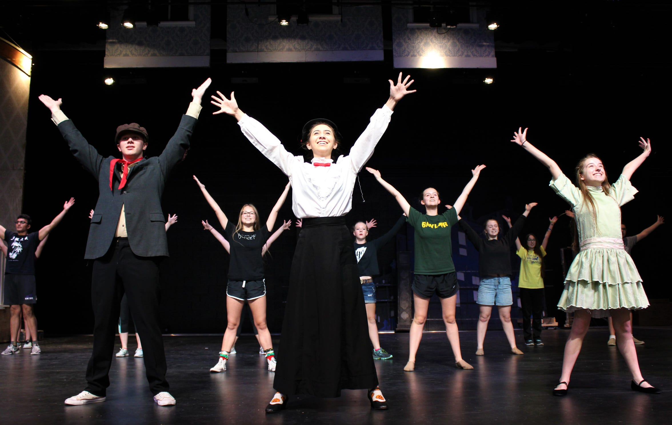 """Big dance numbers are part of the fun of """"Mary Poppins,"""" the first Wylie High School fall musical to be staged in the district's new Performing Arts Center, beginning Thursday."""