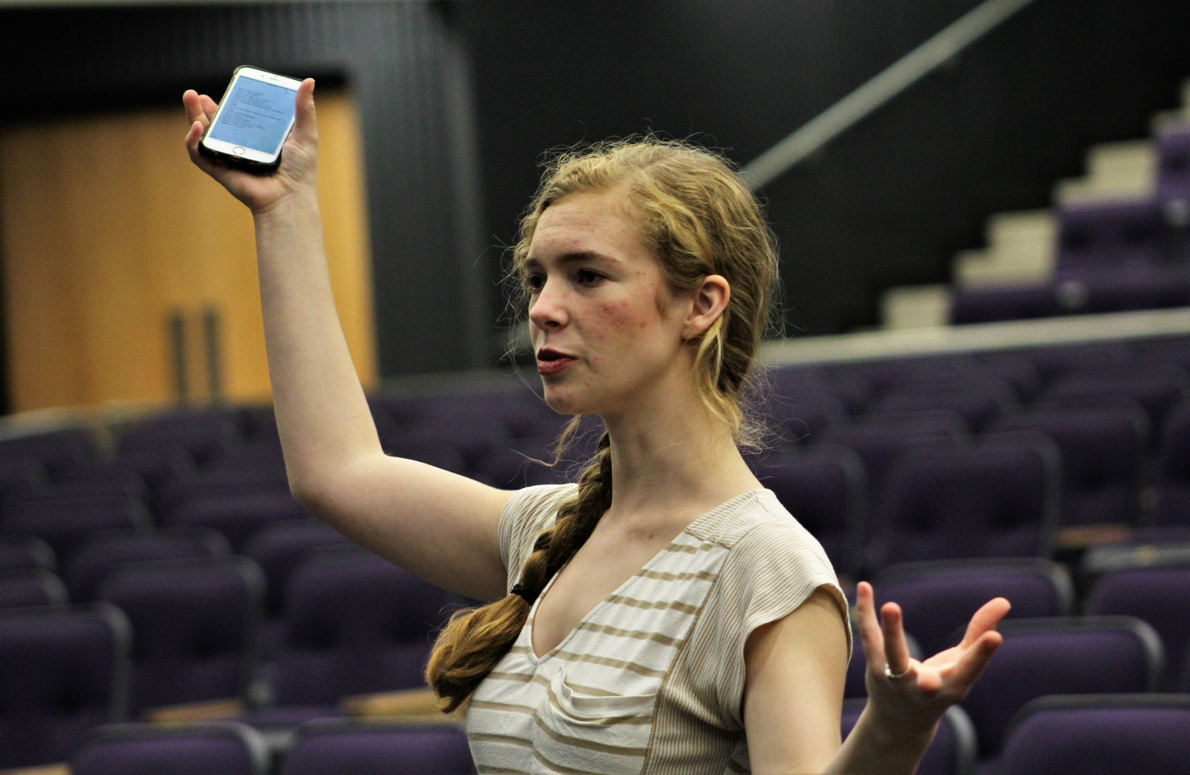 """Kathlyn Messer, who is Mrs. Banks in """"Mary Poppins,"""" offers suggestions on staging during a rehearsal in Wylie High School's new Performing Arts Center. There is seating for 1,000 in the new space. Messer, one of three dance captains with Nicole Englin and Elizabeth Fillingham, assists director Christopher Shoemake with choreography when needed."""