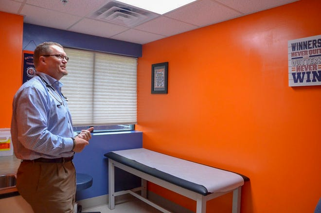 Owner and main practitioner of Battle Creek Family Care Carl Kinzel talks about the rooms in his clinic, each of which has a theme.