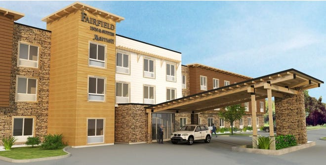 An artist's rendering shows the entrance to the proposed Fairfield Inn & Suites in Poulsbo.