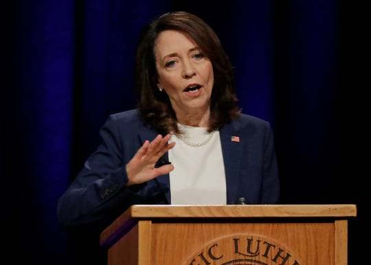 Sen. Maria Cantwell, D-Wash., during Monday's debate.