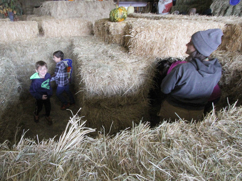 Kids enjoy the hay bale maze at Hunter Farms