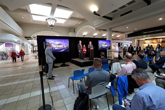 "A news conference announcing plans to build an NHL ice hockey practice facility at Northgate Mall on Monday. The ""NHL Seattle Ice Center"" would be on the east side of the mall and include seating and viewing locations for 1,000 fans in the main rink and 400 more in the second and third rinks."