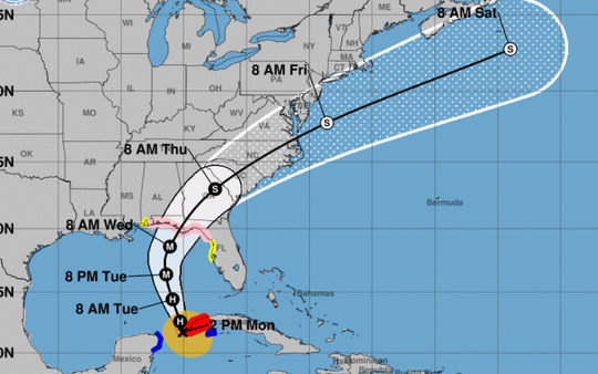 Shown is the 2 p.m. Oct. 8, 2018, weather advisory for Hurricane Michael.