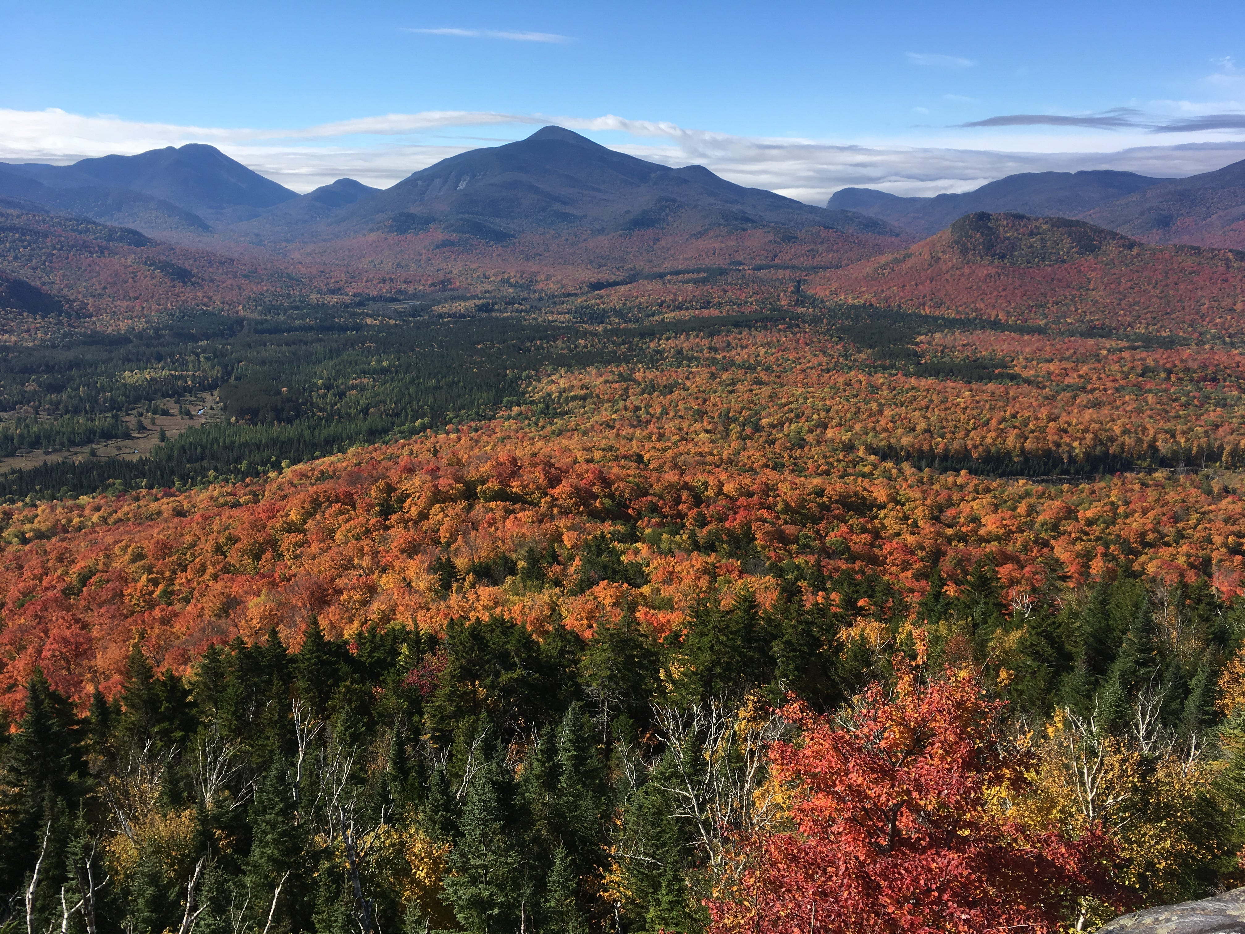 Fall foliage is seen from New York's Mount Van Hoevenberg on Oct. 6, 2018.