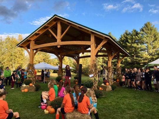 Liza Walker, chairwoman of the Board of Directors of the Mad River Valley Recreation District, speaks at the dedication of a pavilion at the Mad River Park and Path on Oct. 4, 2018.