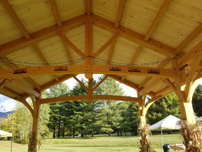 The inside of a pavilion at the Mad River Park and Path in Waitsfield is adorned with the first names of five local teenagers who were killed in a crash on Interstate 89 in Williston on Oct. 8, 2016.